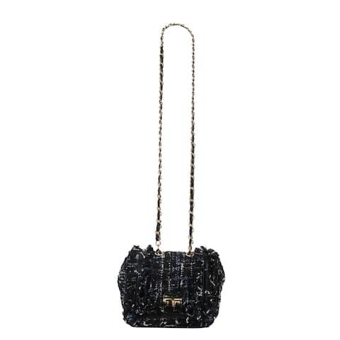 Diophy Tweed Turn Lock Flap Cross Body Bag with Ruffled Decoration