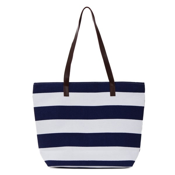 b9da70bfb1d Shop Canvas Tote Bag, Striped Tote with Faux Leather Trim - Free ...