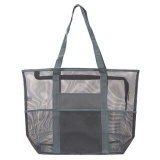 Large Mesh Beach Bag Tote with Top Zipper, Shopping Bag Picnic Tote