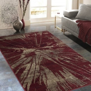 """Allstar Rugs Distressed Wine Red and Chocolate Rectangular Accent Area Rug with Beige Abstract Design - 4' 11"""" x 7' 0"""""""