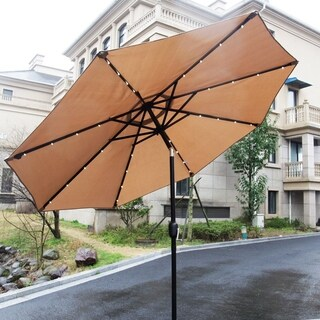 Kinbor 9ft Patio Umbrella LED Lighted Hanging Umbrella Solar Power Table Market Umbrella