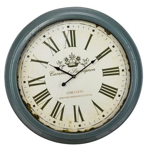Round Wall Clock with Bold Roman Numbers Over Rustic Base, Blue