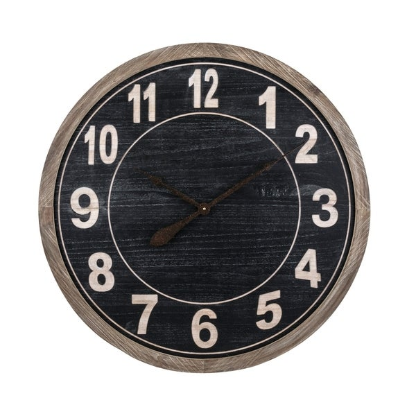 Round Wall Clock with Numeric Numbers, Black and Brown