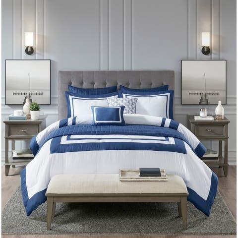 Madison Park Lexington 8 Piece Comforter and Coverlet Set Collection 2-Color Option