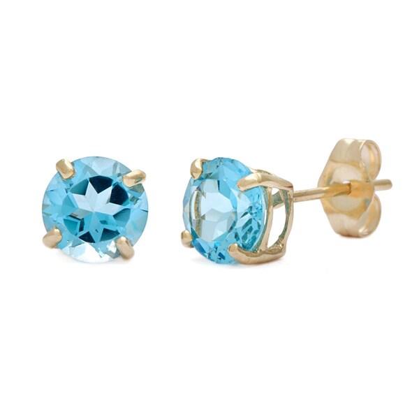 Kabella 14k Yellow Gold Round Blue Topaz Stud Earring