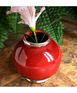 Urban Ceramic Vase with Silvertone Trim, Handmade in , Handmade in Morocco