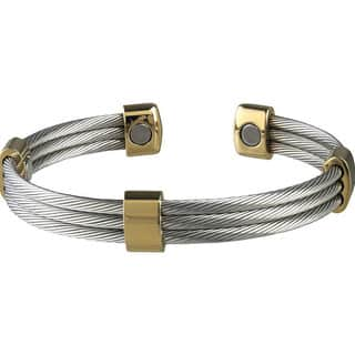 Sabona Trio Cable Stainless Steel/ Gold Magnetic Bracelet|https://ak1.ostkcdn.com/images/products/2620836/P10825757.jpg?impolicy=medium