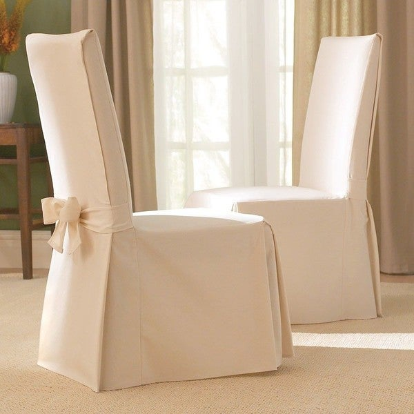 sure fit cotton classic dining chair slipcovers set of 2 in natural