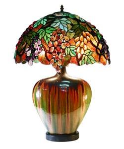 Tiffany Style Grape Lamp With Ceramic Base - Thumbnail 0