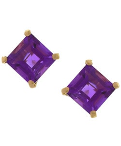 Kabella 14k Gold Amethyst Square Gemstone Stud Earrings