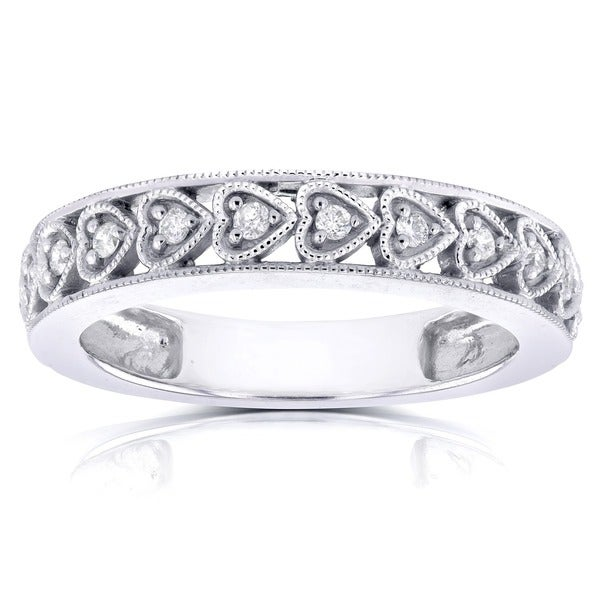 Annello by Kobelli 14k White Gold 1/10ct TDW Round Diamond Heart Band
