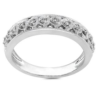 Annello by Kobelli 14k White Gold 1/10ct TDW Round Diamond Heart Band (H-I, I1-I2)
