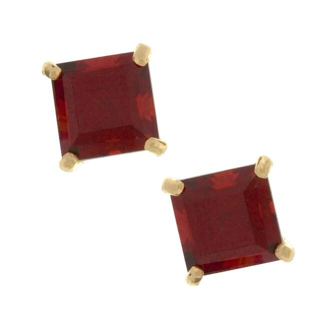 Kabella 14k Gold Garnet Square Gemstone Stud Earrings