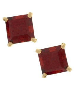 Kabella 14k Gold Garnet Square Gemstone Stud Earrings - Thumbnail 0
