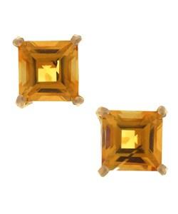 Kabella 14k Gold Citrine Square Gemstone Stud Earrings