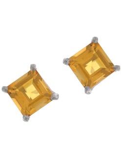 Kabella 14k White Gold Square Citrine Stud Earrings