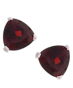 Kabella 14k White Gold Triangular Garnet Stud Earrings