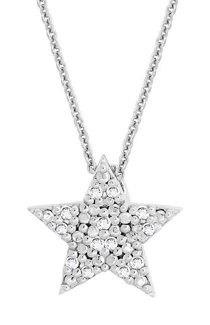 DB Designs Sterling Silver 1/8ct TDW Diamond Star Necklace