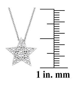 DB Designs Sterling Silver 1/8ct TDW Diamond Star Necklace - Thumbnail 2