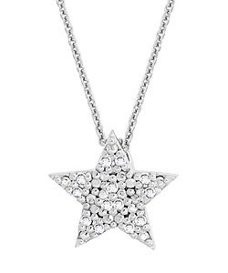 DB Designs Sterling Silver 1/8ct TDW Diamond Star Necklace