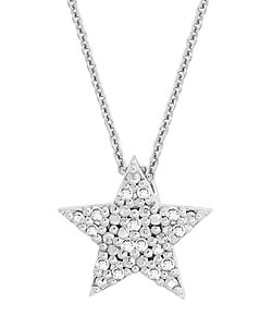 DB Designs Sterling Silver 1/8ct TDW Diamond Star Necklace - Thumbnail 0