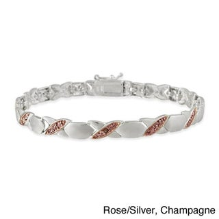 DB Designs Sterling Silver X and O White or Champagne Diamond Accent Bracelet