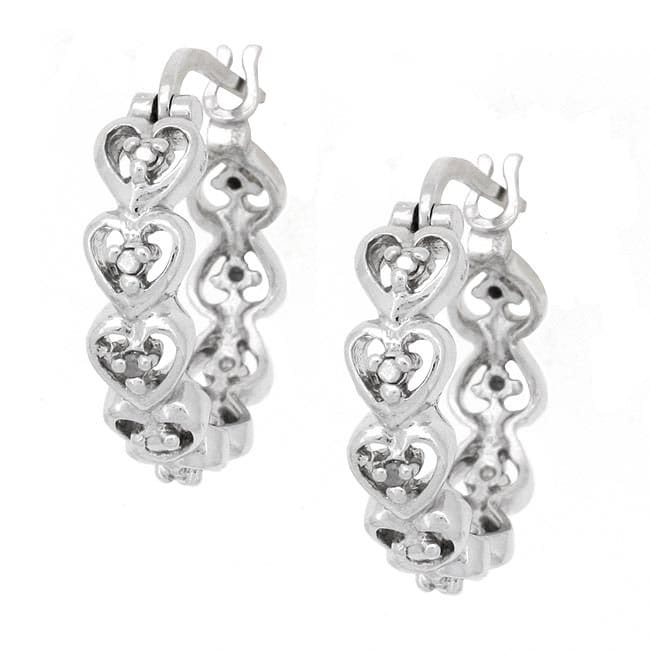 Db Designs Sterling Silver Diamond Accent Heart Hoop Earrings
