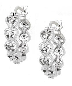 DB Designs Sterling Silver Diamond Accent Heart Hoop Earrings