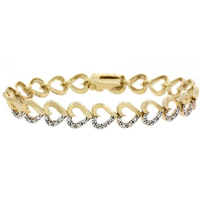 DB Designs 18k Gold Overlay Heart-link Diamond Accent Bracelet