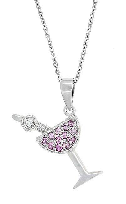 Icz Stonez Sterling Silver Dark Pink CZ Martini Necklace