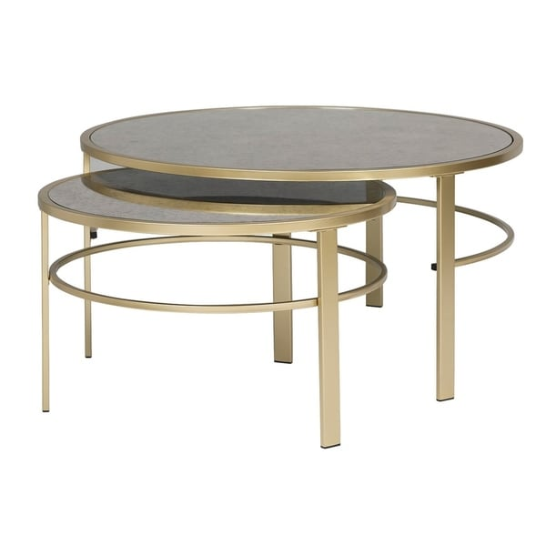 Offex Home Corbel Modern Round Nesting Coffee Table Set in Gold/Antiqued Mirror