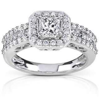 Annello by Kobelli 14k White Gold 1 1/4ct TDW Diamond Halo Engagement Ring (H-I, I1-I2)