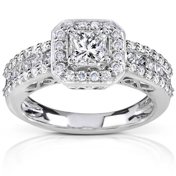 Annello by Kobelli 14k White Gold 1 1/4ct TDW Diamond Halo Engagement Ring (H-I, I1-I2)