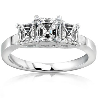 Annello by Kobelli 14k Gold 1ct TDW Asscher Diamond Engagement Ring (More options available)