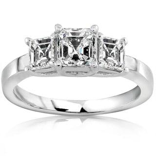 Annello by Kobelli 14k Gold 1ct TDW Asscher Diamond Engagement Ring