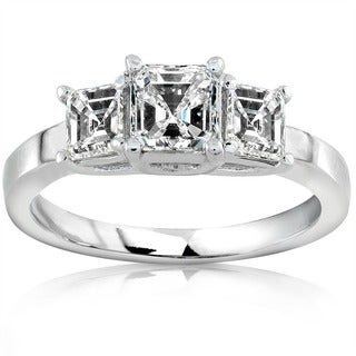 Annello by Kobelli 14k Gold 1ct TDW Asscher Diamond Engagement Ring