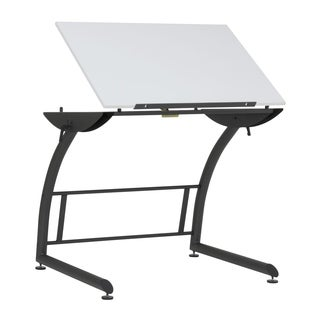 Offex Triflex Standing Height Adjustable Drawing Table in Charcoal Black/White - N/A