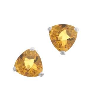 Kabella 14k White Gold Trillion Citrine Stud Earring