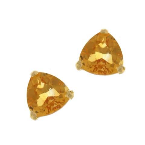 Kabella 14k Yellow Gold Trillion Citrine Stud Earring
