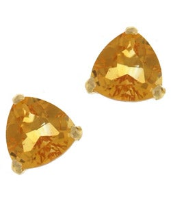 Kabella 14k Yellow Gold Trillion Citrine Stud Earring