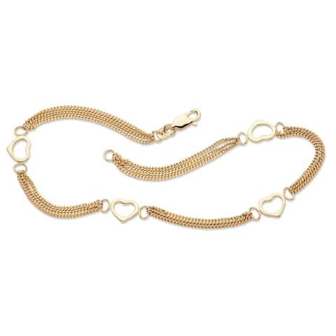 """Yellow Gold over Sterling Silver Heart Ankle Bracelet (8mm), 10"""""""