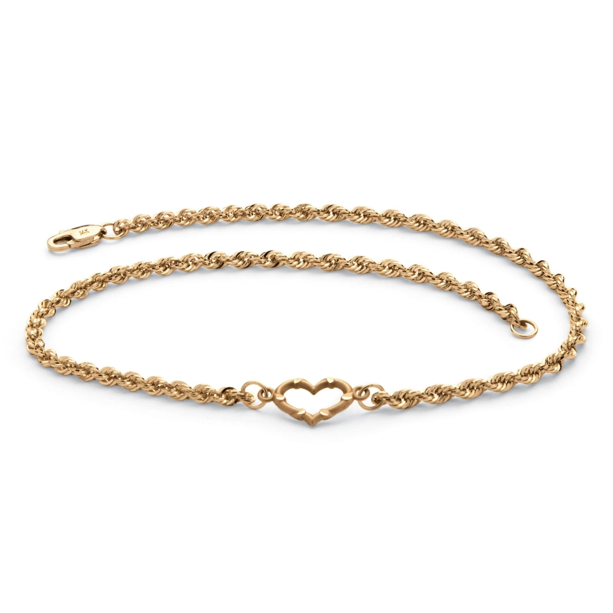 14K Yellow Gold Rope Chain Heart Anklet 10 length