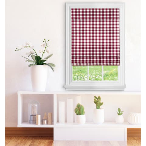 ACHIM Cordless Buffalo Check Roman Window Shade - Burgundy