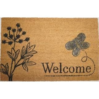 Butterfly Applique Coir Welcome Mat