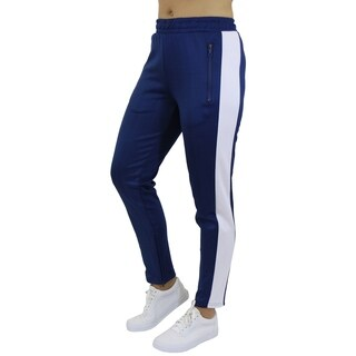 Galaxy By Harvic Women's Active Moisture Wicking Striped Track Jogger Sweatpants