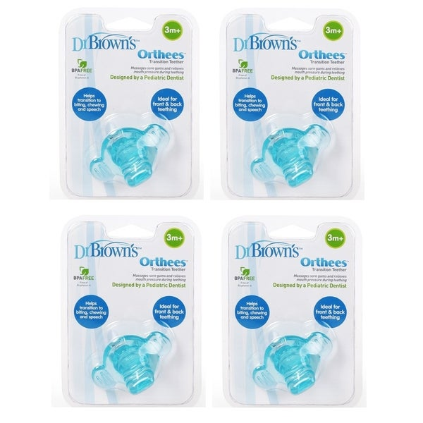 BPA Free Brown/'s Orthees Transition Teether 3m+ Blue Pack of 3 Dr