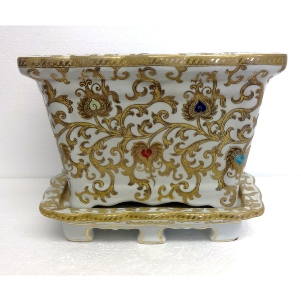 White & Gold Scroll Pattern Planter w/ saucer