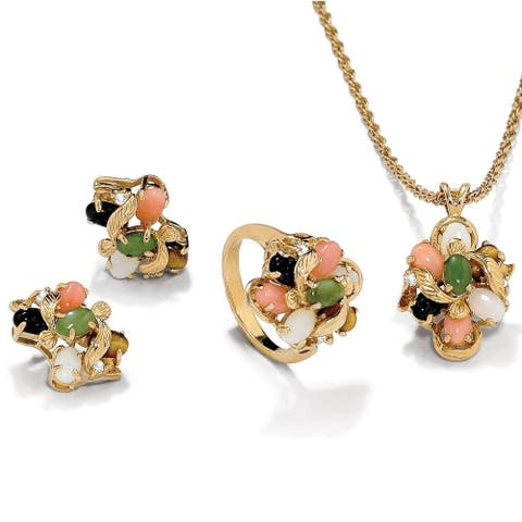 Yellow Gold-Plated Genuine Gemstone Ring, Earring and Necklace Set