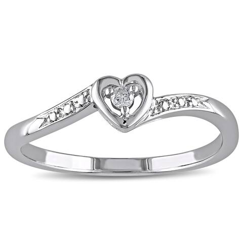 Miadora Sterling Silver Diamond Heart Promise Ring