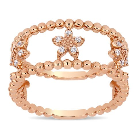 Miadora 14k Rose Gold 1/6ct TDW Diamond Double Band Beaded Flower Band Ring